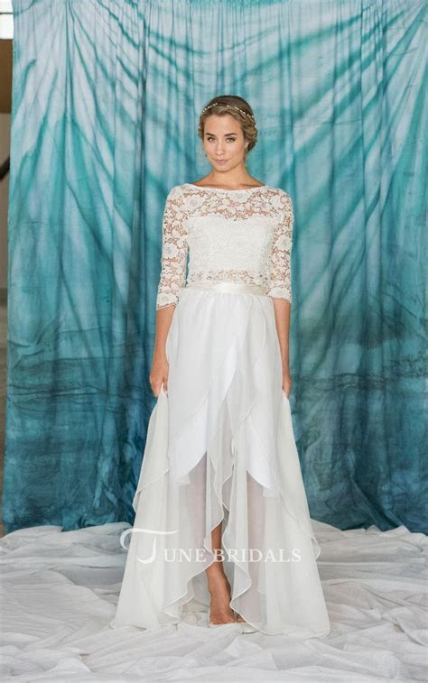 3 4 Sleeve Lace Weddig Dress With Button   June Bridals