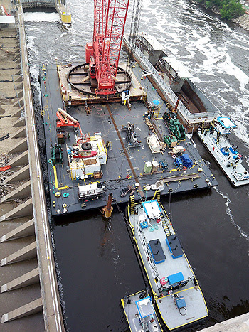The barge deck with the crane base
