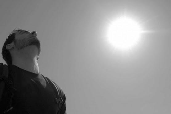 sky sun black and white