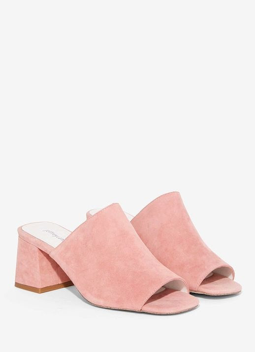 Le Fashion Blog Pink Suede Open Toe High Heeled Mules Via Nasty Gal