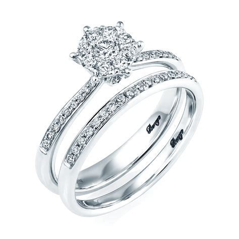 18ct White Gold Diamond Bridal Set Rings From Berry's