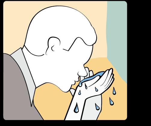 Person performing ritual nasal rinsing
