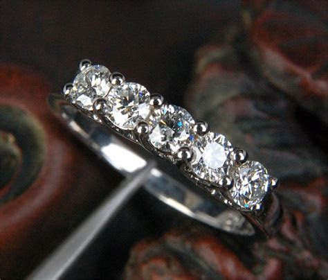 5 Stone Moissanite Ring   3.5mm Round Moissanite Wedding