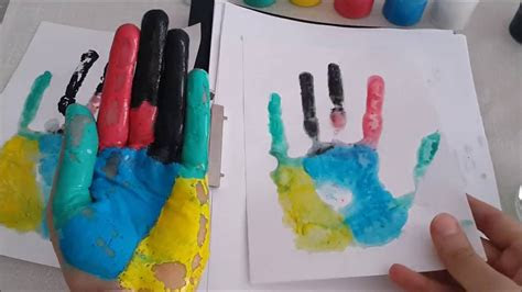 parmak boyasiyla el boyuyoruz finger paint youtube