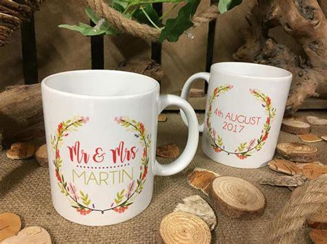 Personalised Wedding Mugs x2   Hopwood Laser Design