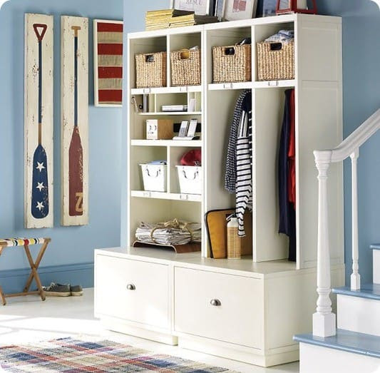 White Entryway Storage Units