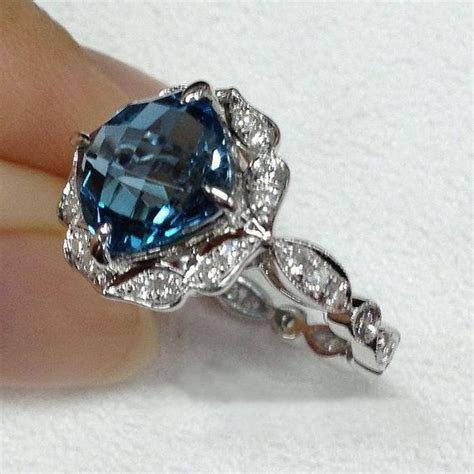 London Blue Topaz Engagement Ring 8mm 3.1ct Cushion by