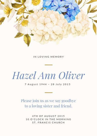 Customize 38  Funeral Invitation templates online   Canva