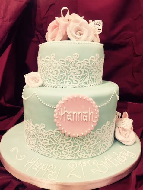 Two Tier Pink & Blue Birthday Cake