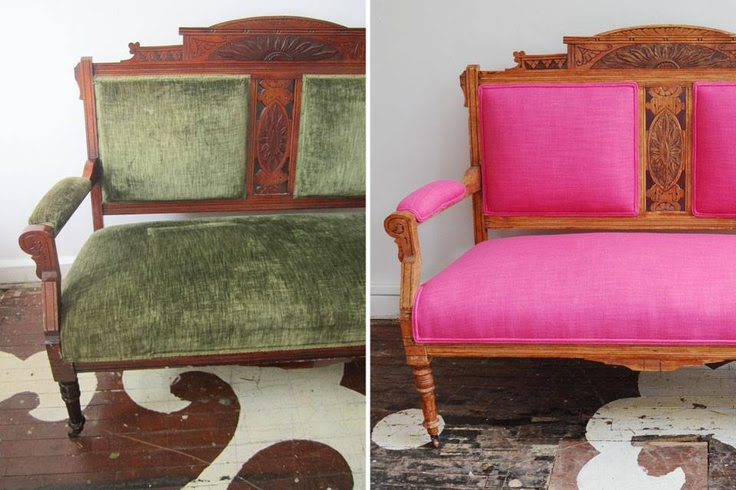 Before & after. Chairloom took an antique Eastlake settee, reupholstered in our Gig Harbor in Fuschia. This lovely piece will be going to a little girl's room. It was passed down through three generations -- from grandparents to granddaughter!