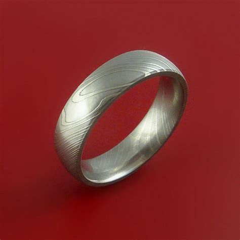 Damascus Steel Ring Wedding Band Dome Style Custom Made