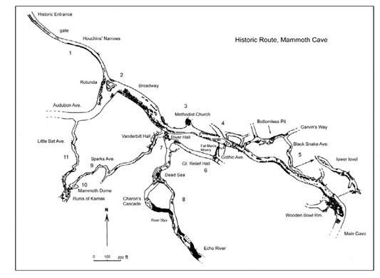 Map of the Historic Route of Mammoth Cave