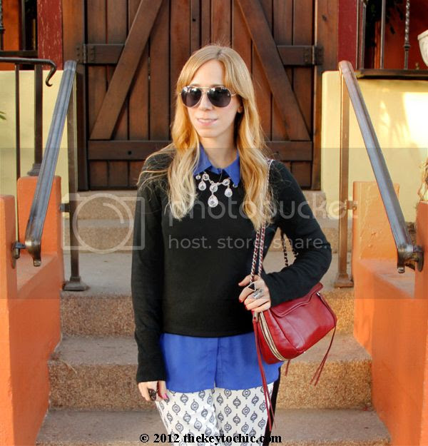 Mossimo sweater, chandelier necklace, Rebecca Minkoff Swing bag, Los Angeles fashion blog