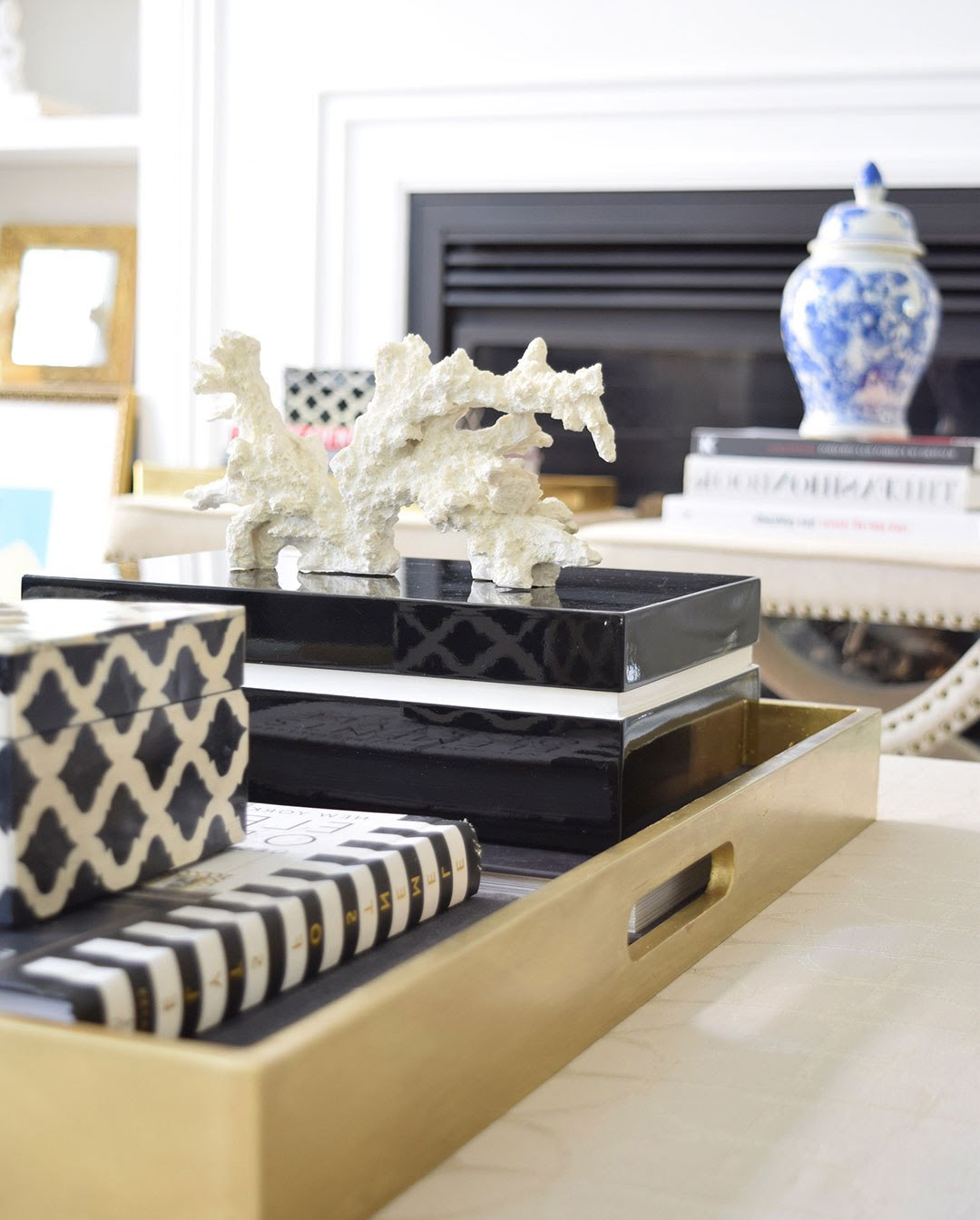 Gold Coffee Table Tray Decor | Roy Home Design