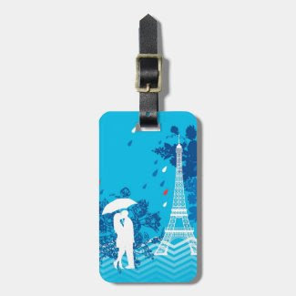 Couple in Paris with Eiffle Tower Tag For Luggage