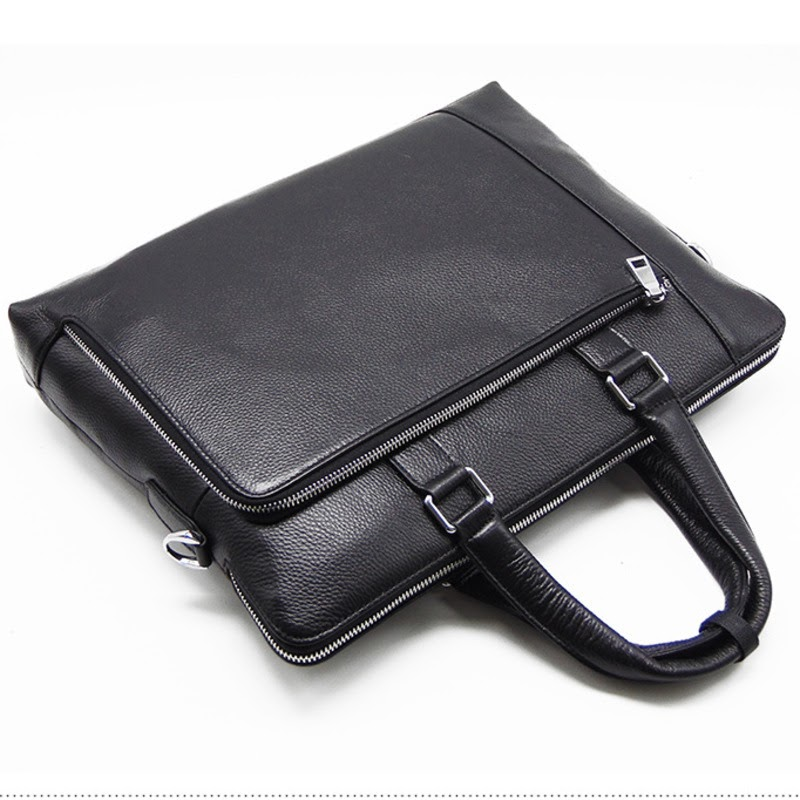 Recommended Men's Luxury Cowhide Briefcase Black  Man Crossbody Real Leather Bags For Male Business Shoulder Handbags Bandolera Hombre 2019