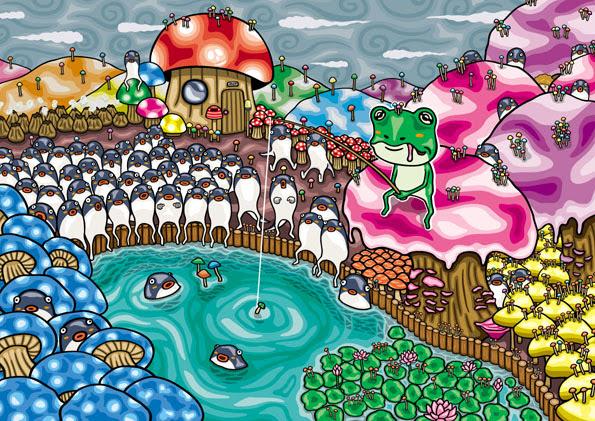 キノコの国 日本の風景とかイラスト