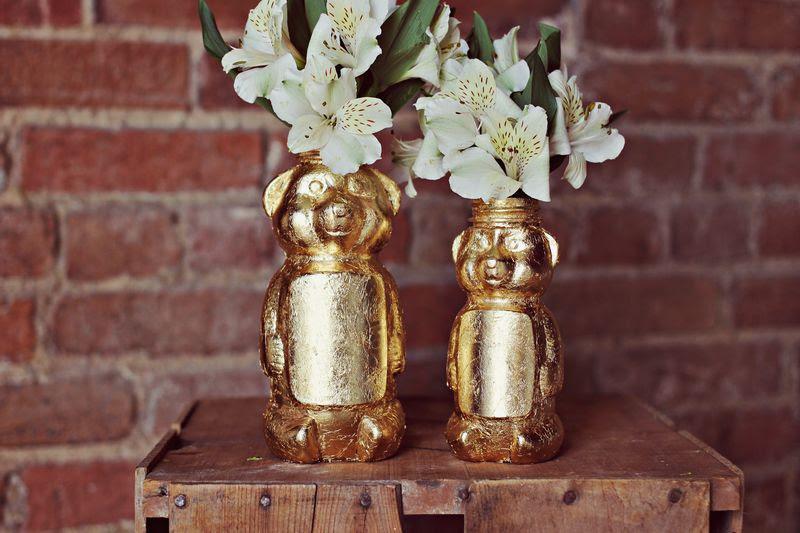 Gold Honey Bear Vase DIY from A Beautiful Mess