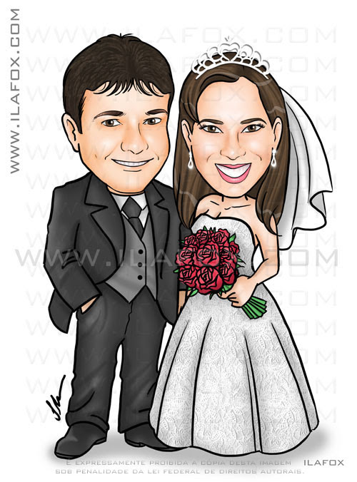 cariactura noivinhos, corpo inteiro, colorido, casal, caricatura para casamentos by ila fox