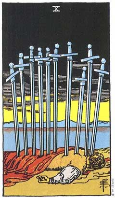 Dez de espadas  no Tarô Rider-Waite-Smith