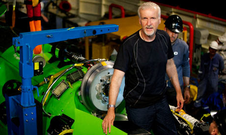 James Cameron with Deepsea Challenger submarine
