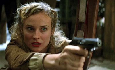 Bridget von Hammersmark (Diane Kruger) shoots a fellow German in INGLOURIOUS BASTERDS.
