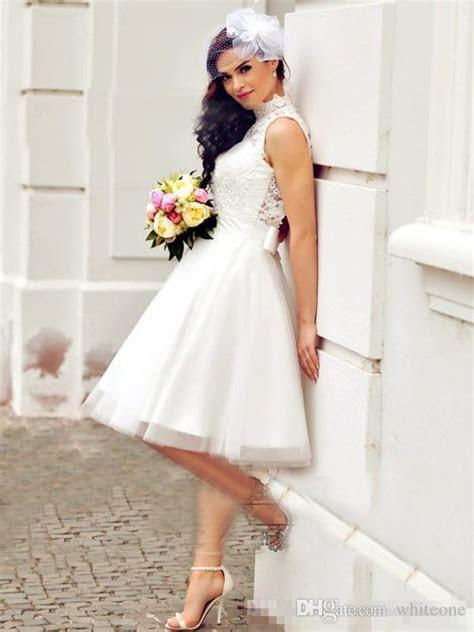Discount 2017 Vintage Short Beach Wedding Dresses Lace