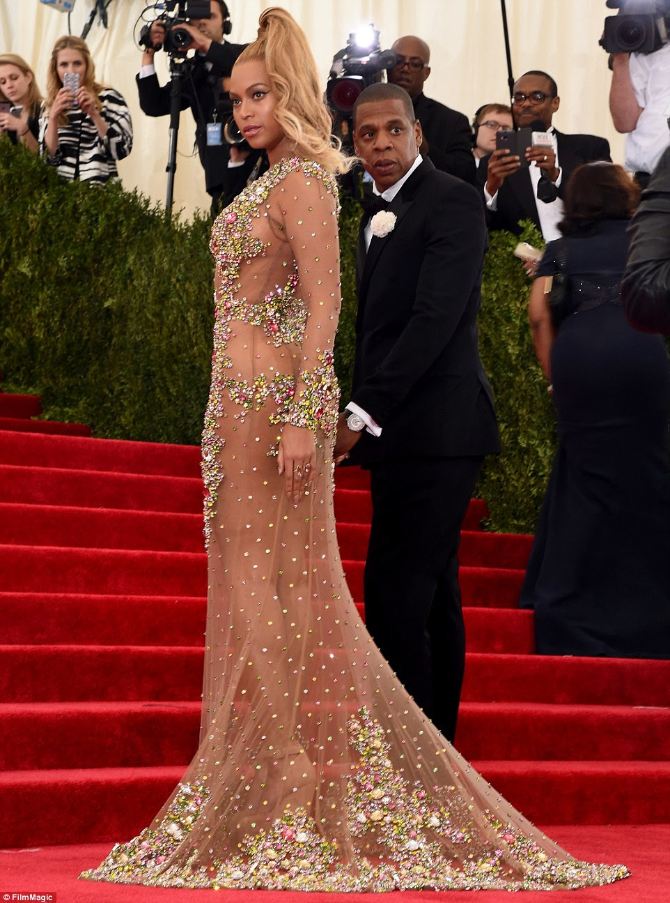 Fashionably late: Beyonce and Jay Z were the last guests to arrive, but they certainly made up for lost time
