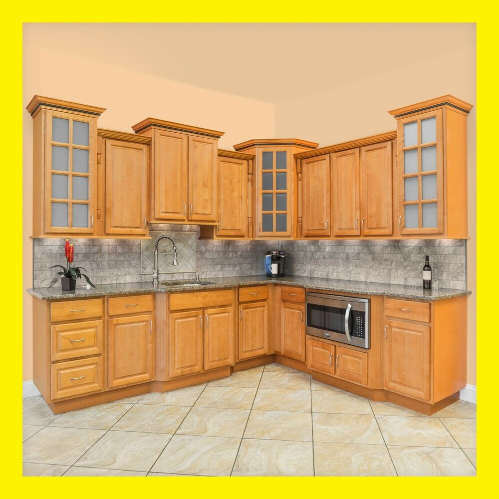Richmond All Wood Kitchen Cabinets, Honey Stained Maple ...