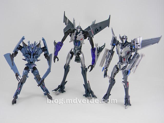 Transformers Starscream Voyager - Prime RID - modo robot vs First Edition Deluxe vs Soundwave