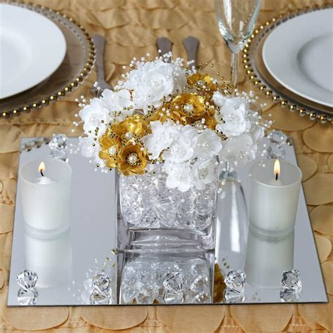 "4 Pack 12"" Square Glass Mirror Wedding Table Centerpiece"