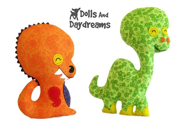 T Rex and brontosaurus dinosaur sewing pattern
