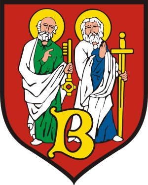 Saints Peter and Paul shown on the coat of arm...