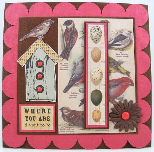Scalloped Square Birds Card