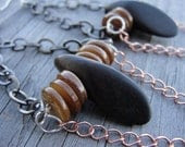Tigers Wood and Shell Gunmetal Copper Chain Earrings