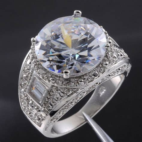 Sz 9 13 Deluxe Mens Jewelry White Sapphire White Gold