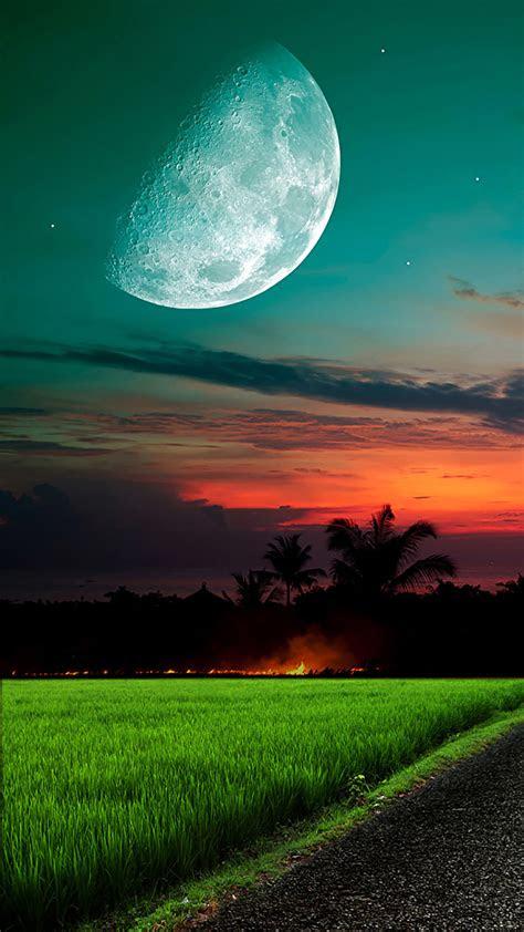 moon  sky grass wallpaper  iphone  pro max        wallpapers