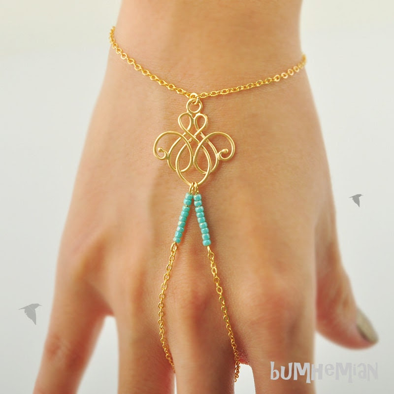 SALE 10% SHOP // Cable Chain with Chandelier Wire Pendant with Turquoise Seed Beads, Wrist and Finger, Heart Chain Extension, Bracelet