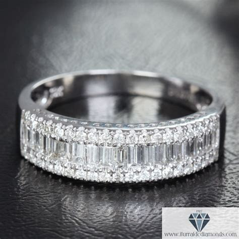 Channel Set Baguette & Round Diamond Half Eternity Wedding