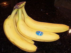 This is a picture of bananas on a countertop.