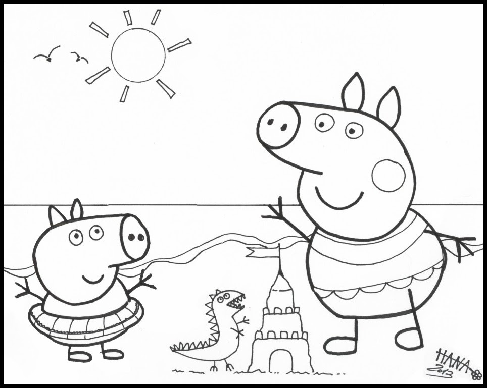 Peppa Pig At The Beach Colouring Pages Az Coloriage