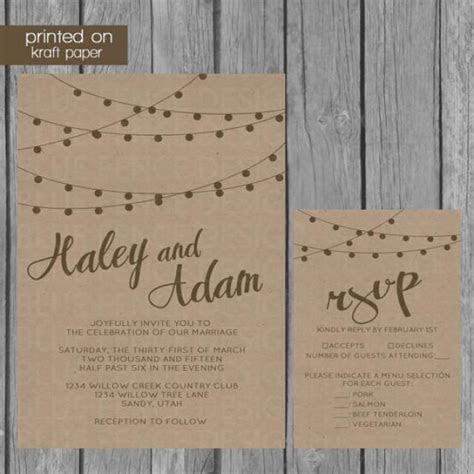 String Lights Kraft Paper Wedding Invitation #2219899