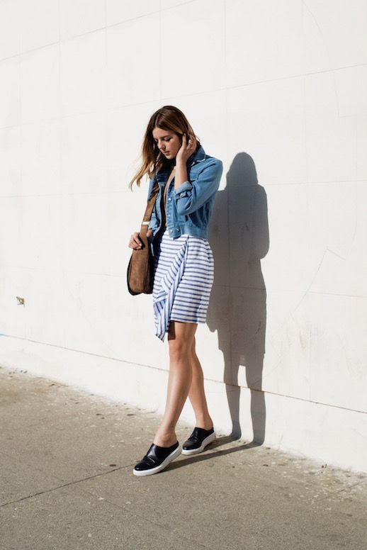Le Fashion Blog Denim Jacket Striped Dress Leather Sneakers Brown Bag Via Take Aim