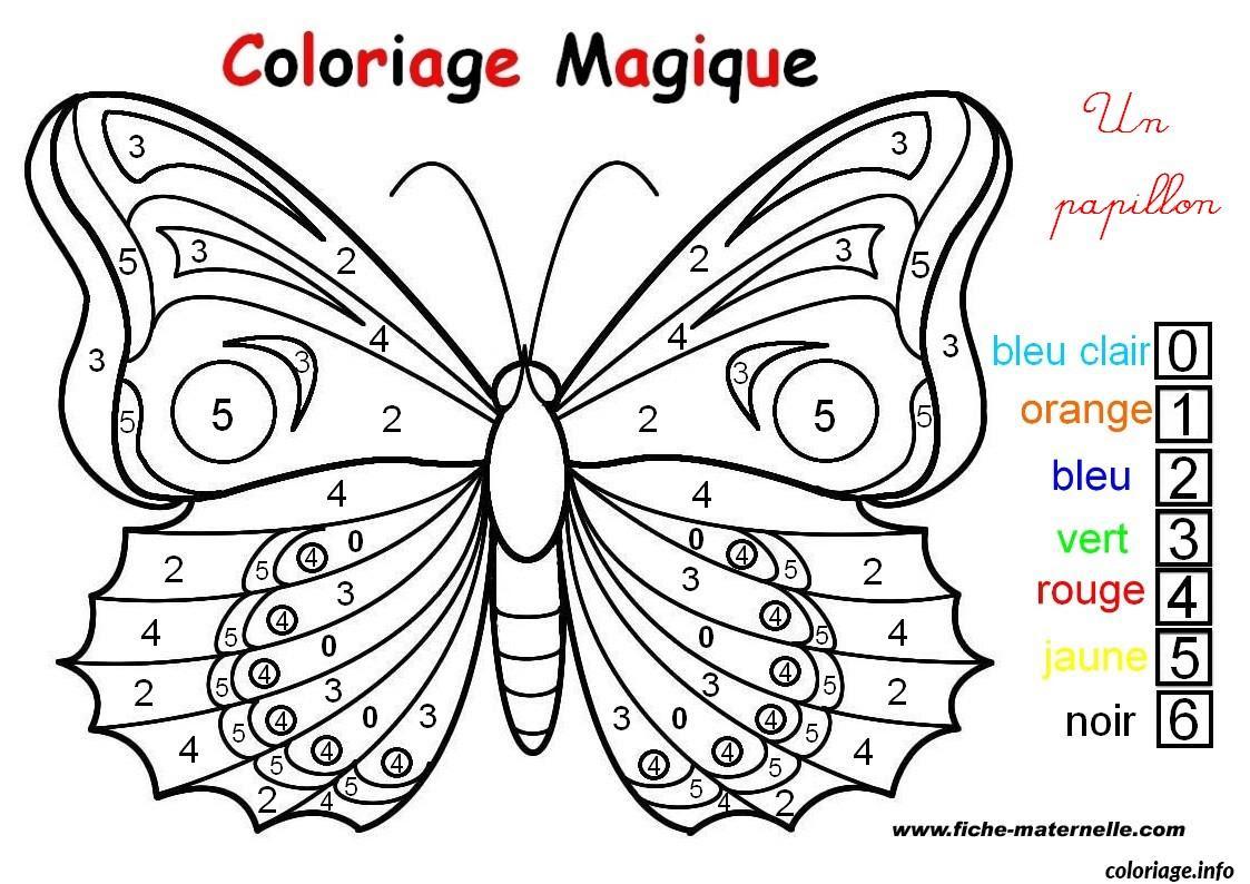 Coloriage Magique Un Papillon Facile Dessin  Imprimer