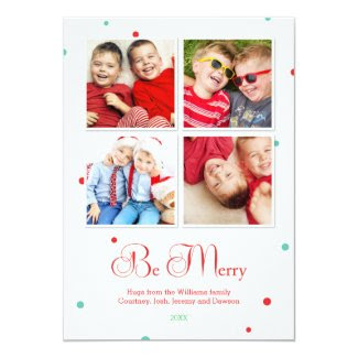 Modern Dots Holiday Multi Photo Card