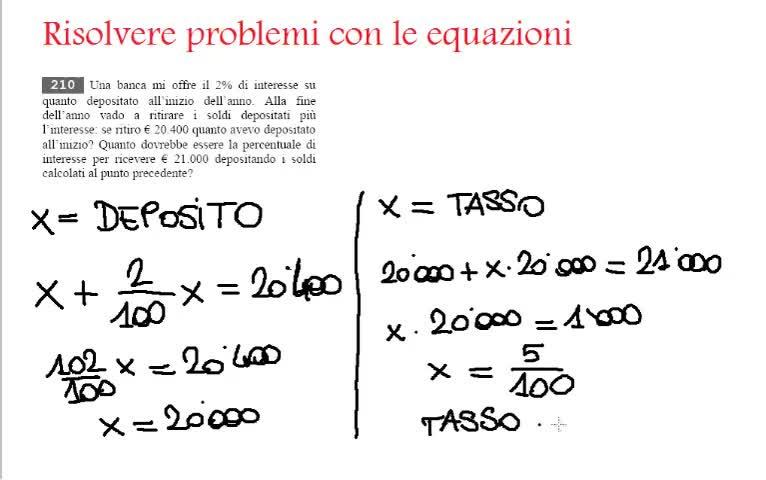 Esempi su come usare le equazioni per trovare la soluzione ...