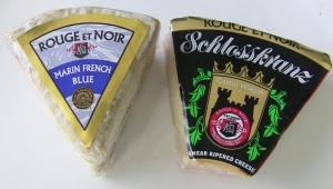 Wedges of Rouge et Noir Blue Cheese and Schlosskranz