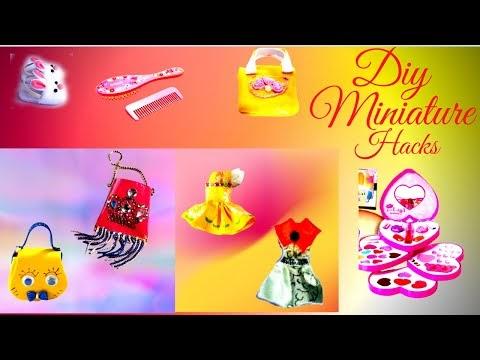 10 DIY Miniature Barbie Hacks : Make Up Kit, Dresses, Handbags, Backpack...