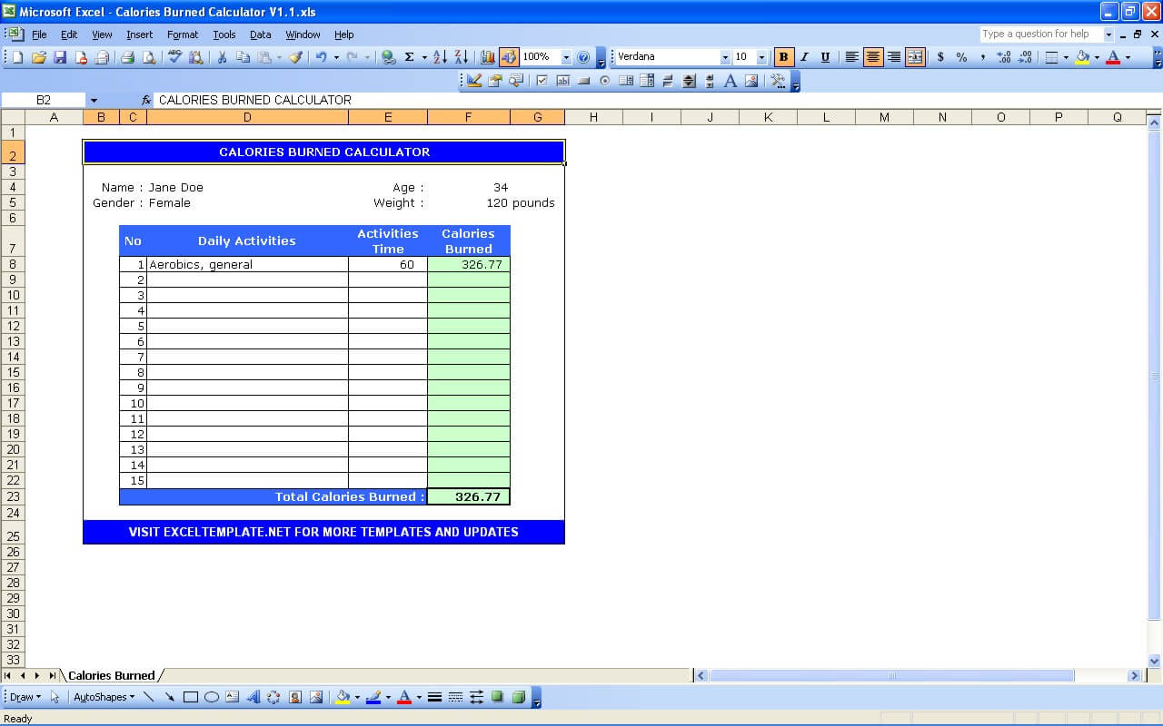 Calories Burned Calculator   Excel Templates