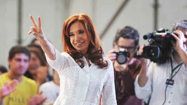 Cristina Kirchner, ayer, en La Plata.